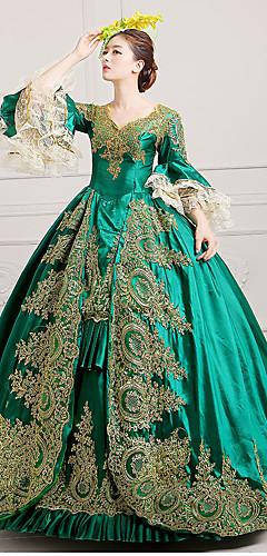 abordables -Marie-Antoinette Rococo 18ème siècle Robe Costume de Soirée Bal Masqué Robe de Soirée Femme Dentelle Satin Costume Noir / Vert / Rouge Bordeaux Vintage Cosplay Soirée Fête scolaire Longueur Sol Robe