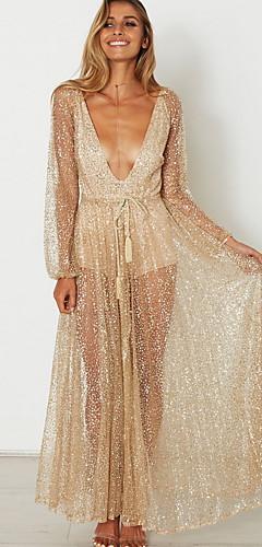 voordelige -Diva Disco Jaren '80 Jurken Dames Pailletten Kostuum Gouden Vintage Cosplay Schoolfeest Lange mouw Tot de grond A-lijn / Kleding / Kleding