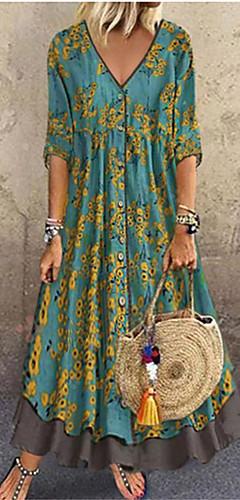 ราคาถูก -สำหรับผู้หญิง สง่างาม รูปตัว เอ แต่งตัว - ลายเลื่อม ลายพิมพ์, ลายดอกไม้ ขนาดใหญ่ คอวีลึก