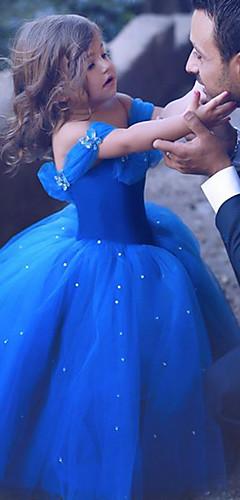 baratos -Princesa Cinderella Vestidos Crianças Para Meninas Natal Dia Das Bruxas Carnaval Festival / Celebração Organza Algodão Azul Escuro Trajes de Carnaval Strass