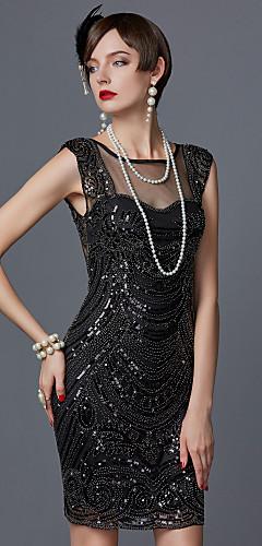 povoljno -Čarlston 1920s Gatsby Vruće dvadesete Haljina s flapperom Žene Šljokice Kostim Crn / Dusty Rose / Šampanjac Vintage Cosplay Party Maturalna zabava Prom Kratkih rukava Do koljena