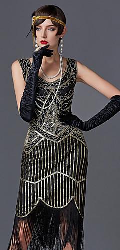 abordables -Charleston Franges Années 1920 Gatsby Les rugissantes années 20 Robe à clapet Femme Paillette Costume Noir / Doré / Vert / noir. Vintage Cosplay Soirée Fête scolaire Sans Manches Mi-long