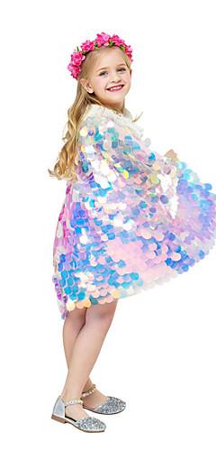ราคาถูก -Aqua Princess เงือก เสื้อคลุม สำหรับเด็ก เด็กผู้หญิง วันคริสต์มาส วันฮาโลวีน Festival / Holiday Polyster สายรุ้ง ชุดเทศกาลคานาวาว เงือก