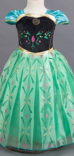 levne -Princeznovské Pohádkové Cosplay Kostýmy Dívčí Filmové kostýmy Světle modrá / Zelená / Fialová Šaty Halloween Nový rok Šifon Bavlna
