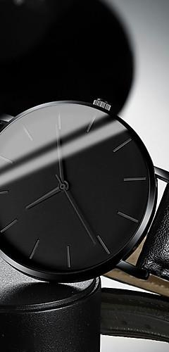 ราคาถูก -สำหรับผู้ชาย นาฬิกาตกแต่งข้อมือ นาฬิกาอิเล็กทรอนิกส์ (Quartz) สไตล์สมัยใหม่ สไตล์ หนัง ดำ / น้ำตาล 30 m กันน้ำ นาฬิกาใส่ลำลอง เท่ห์ ระบบอนาล็อก ไม่เป็นทางการ แฟชั่น - สีดำ ขาว สีน้ำตาล / หนึ่งปี
