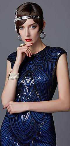 abordables -Gatsby Charleston Années 1920 Les rugissantes années 20 Robe à clapet Robe de cocktail Robe de Soirée Femme Paillettes Franges Costume Noir / Bleu de Prusse / Rouge + noir. Vintage Cosplay Soirée