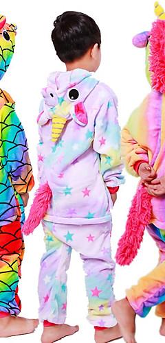 رخيصةأون -للأطفال بيجاما كيجورومي Unicorn حصان طائر مهر بيجاما ونزي قماش الفانيلا أبيض + وردي / أرجواني / أصفر تأثيري إلى الأولاد والبنات ملابس للنوم الحيوانات رسوم متحركة عطلة / عيد ازياء