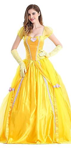 baratos -Princesa Conto de Fadas Belle Vestidos Mulheres Para Meninas Cosplay de Filmes Princesa Amarelo Vestido Luvas Dia Das Bruxas Carnaval Ano Novo Terylene