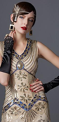 voordelige -The Great Gatsby Charleston 1920s Jaren '20 Zomer Flapper Dress Dames Pailletten Kostuum Zwart / Emerald Groen / Zwart / rood Vintage Cosplay Feest Schoolfeest Mouwloos Tot de knie
