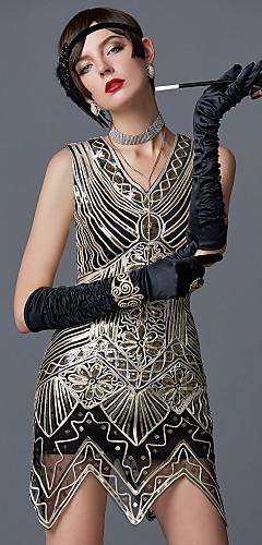 povoljno -The Great Gatsby Čarlston Vintage 1920s Roaring 20s Haljina s flapperom Koktel haljina Žene Šljokice Šljokice Kostim Zlatan Vintage Cosplay Party Maturalna zabava Prom Bez rukávů Do koljena