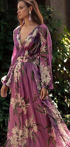 ราคาถูก -สำหรับผู้หญิง สง่างาม สวิง แต่งตัว - รูปแบบลายดอกไม้, ลายดอกไม้ ขนาดใหญ่ คอวีลึก