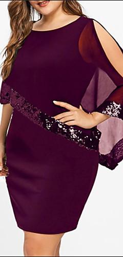 ราคาถูก -สำหรับผู้หญิง ขนาดพิเศษ พื้นฐาน หลวม เสื้อเชิร์ต แต่งตัว - ลายเลื่อม ลายต่อ, สีพื้น เหนือเข่า ไม่รวมเข็ดขัด