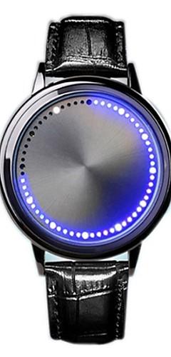 ราคาถูก -สำหรับผู้ชาย นาฬิกาดิจิตอล ดิจิตอล หนัง ดำ หลอดไฟ LED นาฬิกาใส่ลำลอง ดิจิตอล ไม่เป็นทางการ แฟชั่น - สีดำ สีเงิน