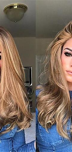 billige -Syntetiske parykker Kinky Glatt Midtdel Parykk Lang Blond Syntetisk hår 22 tommers Dame Dame Mørkebrun