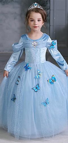 baratos -Cinderella Conto de Fadas Princesa Vestidos Para Meninas Cosplay de Filmes Dia Das Bruxas Natal Azul Dia Das Bruxas