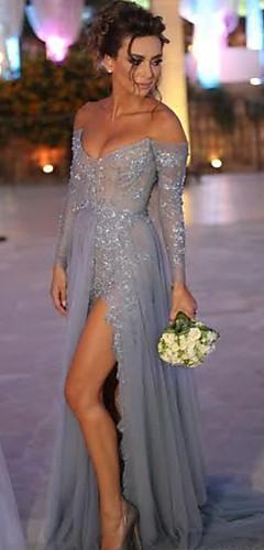 levne -A-Linie Sexy Modrá Zásnuby Formální večer Šaty Pod rameny Dlouhý rukáv Dlouhá vlečka Šifón Krajka s Rozparek Krajkový klín 2020