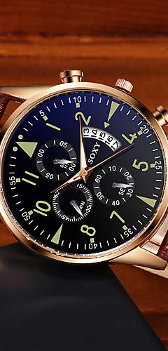 ราคาถูก -สำหรับผู้ชาย นาฬิกาตกแต่งข้อมือ นาฬิกาอิเล็กทรอนิกส์ (Quartz) สไตล์ PU Leather ดำ / น้ำตาล ปฏิทิน noctilucent ระบบอนาล็อก แฟชั่น - สีดำ บรอนซ์ Black / Rose Gold หนึ่งปี อายุการใช้งานแบตเตอรี่
