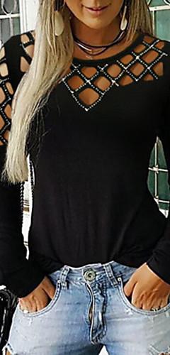 ราคาถูก -สำหรับผู้หญิง เสื้อเชิร์ต พื้นฐาน สีพื้น สีดำ