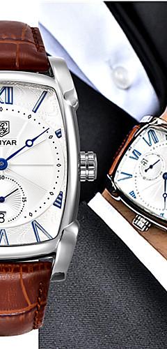 ราคาถูก -สำหรับผู้ชาย นาฬิกาแนวสปอร์ต นาฬิกาอิเล็กทรอนิกส์ (Quartz) กีฬา หนังแท้ ดำ / น้ำตาล 30 m กันน้ำ ระบบอนาล็อก ไม่เป็นทางการ - สีดำ ทอง / สีขาว Black / Silver สองปี อายุการใช้งานแบตเตอรี่ / สแตนเลส