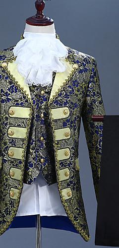 abordables -Prince Rétro Vintage Epoque Médiévale Manteau Corset Pantalon Tenue Homme Costume Violet / Bleu Encre / Bleu Océan Vintage Cosplay Soirée Manches Longues Tailleur-pantalon / Gilet / Gilet