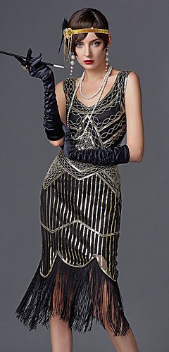 voordelige -The Great Gatsby Charleston 1920s Gatsby Jaren '20 Jaren '20 flapper hoofdband Dames Pailletten Kostuum Zwart / Gouden / Champagne Vintage Cosplay Feest Schoolfeest Mouwloos