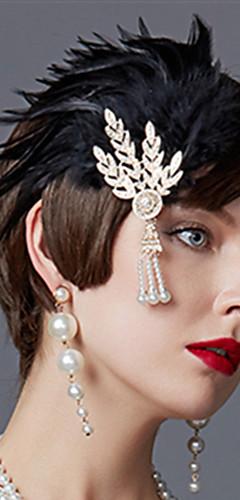povoljno -Čarlston Vintage 1920s Gatsby Traka za kosu u stilu 20-ih Žene Kostim Crn / Zlatan / Srebrna Vintage Cosplay Festival