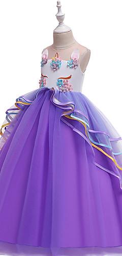 baratos -Unicorn Vestidos Fantasias de Cosplay Baile de Máscara Para Meninas Cosplay de Filmes Fantasias Dia Das Bruxas Roxo / Azul / Rosa claro Vestido Dia Das Bruxas Dia da Criança Baile de Máscaras Poli