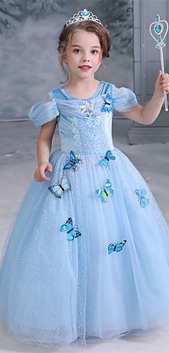 baratos -Cinderella Conto de Fadas Princesa Vestidos Para Meninas Cosplay de Filmes Dia Das Bruxas Natal Azul Vestido Dia Das Bruxas