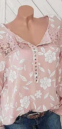 ราคาถูก -สำหรับผู้หญิง เสื้อสตรี ลายพิมพ์ ลายดอกไม้ สีดำ / ฤดูใบไม้ผลิ / ตก