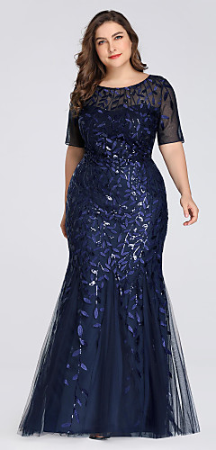 cheap -Mermaid / Trumpet Plus Size Blue Wedding Guest Formal Evening Dress Jewel Neck Short Sleeve Floor Length Tulle with Sequin Appliques 2020 / Illusion Sleeve
