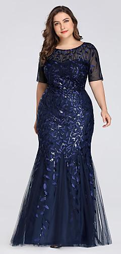 levne -Mořská panna Větší velikosti Modrá Svatební host Formální večer Šaty Klenot Krátký rukáv Na zem Tyl s Flitry Aplikace 2020 / Iluze