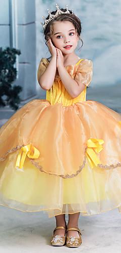 levne -Princeznovské Kráska Šaty Dívčí Filmové kostýmy Halloween Vánoce Žlutá Šaty Halloween