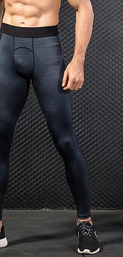 ราคาถูก -YUERLIAN สำหรับผู้ชาย เอวสูง useless กางเกงรัดรูป พิมพ์ 3D สีดำ สีน้ำเงิน ทับทิม สีน้ำเงินเข้ม สีเทาอ่อน ตารางไขว้ วิ่ง ฟิตเนส ยิมออกกำลังกาย ชั้นฐาน กีฬา ชุดทำงาน แห้งเร็ว Butt Lift Power Flex