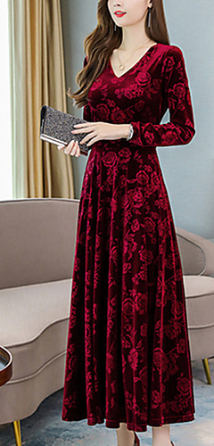 ราคาถูก -สำหรับผู้หญิง หลวม รูปตัว เอ แต่งตัว สีพื้น ขนาดใหญ่ คอวี