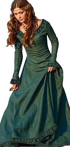 voordelige -Retro vintage Middeleeuws Jurken Dames Kostuum Groen / Rood / Blauw Vintage Cosplay Teaparty Festival Lange mouw Lange Lengte A-lijn / Kleding / Kleding