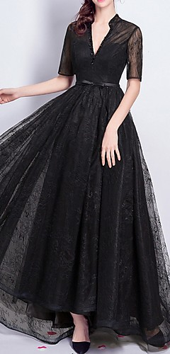 cheap -A-Line Elegant Formal Evening Dress V Neck Short Sleeve Floor Length Lace with Sash / Ribbon Beading 2020