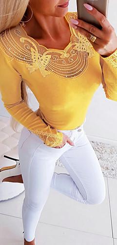 billige -Bluse Dame - Ensfarget, Utskjæring Grunnleggende Svart