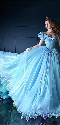 baratos -Princesa Cinderella Conto de Fadas Vestidos Fantasias de Cosplay Mulheres Cosplay de Filmes Azul Vestido Natal Dia Das Bruxas Ano Novo Organza Cetim
