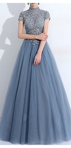 cheap -A-Line Vintage Blue Quinceanera Prom Dress High Neck Short Sleeve Floor Length Tulle with Pleats Appliques 2020