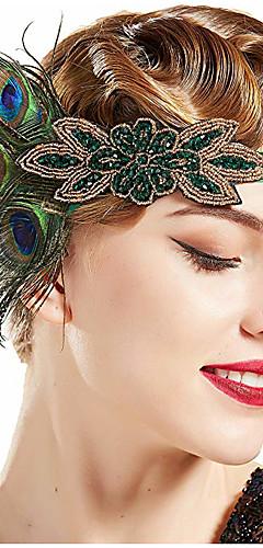 povoljno -The Great Gatsby Vintage 1920s Gatsby Rukavice Traka za kosu u stilu 20-ih Žene Kostim Šeširi Fascinators Zelen Vintage Cosplay Festival