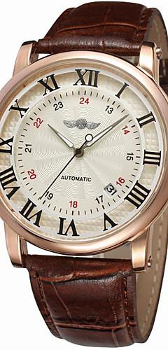 ราคาถูก -WINNER สำหรับผู้ชาย นาฬิกาข้อมือ ไขลานอัตโนมัติ หนัง ดำ / น้ำตาล 30 m ปฏิทิน เท่ห์ ระบบอนาล็อก คลาสสิก วินเทจ ไม่เป็นทางการ แฟชั่น Aristo - White / Silver Rose Gold / White Black / Rose Gold