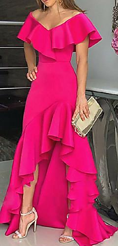 levne -A-Linie Minimalistické Růžová Party Wear Formální večer Šaty Pod rameny Bez rukávů Asymetrické Šifón s Volány Rozparek 2020