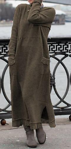ราคาถูก -สำหรับผู้หญิง เสื้อถัก แต่งตัว สีพื้น ขนาดใหญ่