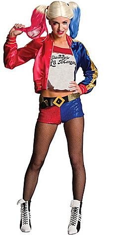 baratos -Esquadrão do suicídio Super-Heróis Palhaço Burlesco Harley Quinn Conjuntos de acessórios de fantasia Fantasias de Cosplay Mulheres Cosplay de Filmes Vermelho Casaco Calças Bracelete Dia Das Bruxas