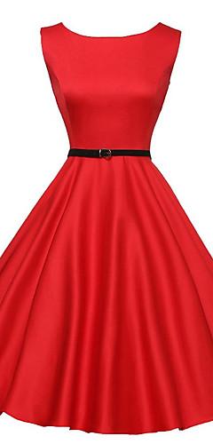 povoljno -Audrey Hepburn Retro / vintage Mala crna haljina 1950-te 1960 Osa struka Haljine Žene Kostim Crn / Srebrna Vintage Cosplay Maturalna zabava Kratkih rukava Midi