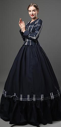 voordelige -Rococo Victoriaans 18de eeuw Jurken Outfits Dames Katoen Kostuum Blauw Vintage Cosplay Feest Schoolfeest Lange mouw Tot de grond Lange Lengte Baljurk Grote maten Op maat