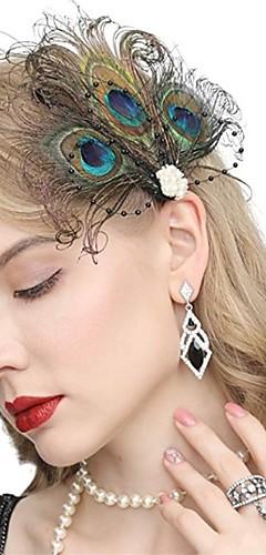 abordables -Gatsby Rétro Vintage Années 1920 Gatsby Bandeau Garçonne Femme Costume Bijoux de Cheveux Boucles d'Oreille Chappeaux Bibi Noir / Vert Vintage Cosplay Festival / 1 Paire de Boucles d'Oreille
