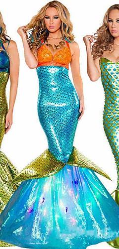 economico -Coda da Sirena Aqua Queen Aqua Princess Costumi Cosplay Vestito da Serata Elegante Per adulto Per donna Natale Halloween Carnevale Feste / vacanze Terylene Verde / Dorato / Verde acqua Per donna