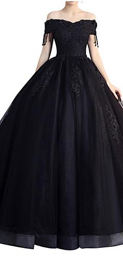 cheap -A-Line Elegant Formal Evening Dress Off Shoulder Short Sleeve Floor Length Polyester with Beading Tassel Appliques 2020