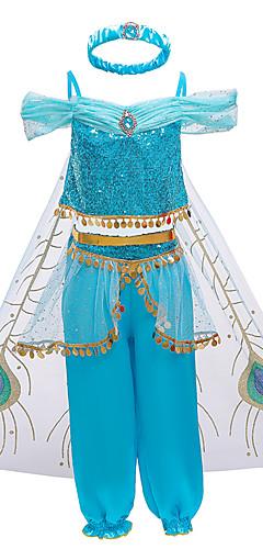 povoljno -Princess Jasmine Izgledi Cvjetna djevojka haljina Djevojčice Filmski Cosplay Line-Slip Halloween Božić Plava Haljina Hlače Plašt Božić Halloween Karneval Polyster Miješani materijal / Traka za kosu